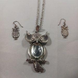 Vtg Sterling Owl Earrings & Fashion Owl Necklace